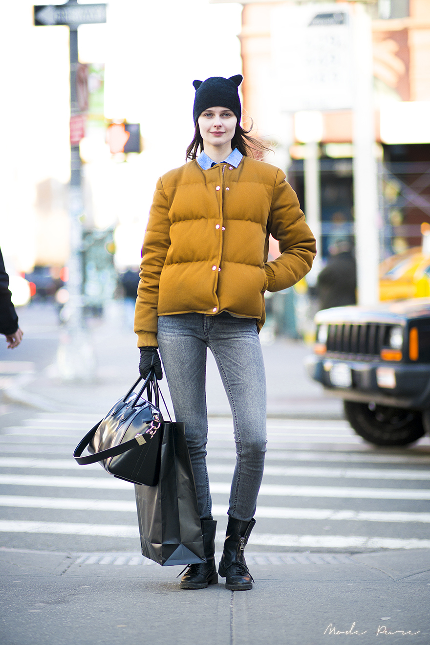 Vasilisa Pavlova | H&M hat, Acne jacket, Acne jeans, Givenchy bag, Zara boots | SoHo, New York | Feb 21, 2013.