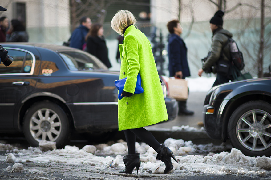 Blair Eadie | Acne coat, Rebecca Minkoff bag, Givenchy shoes | New York Fashion Week Fall/Winter 2013 | Feb 10, 2013.