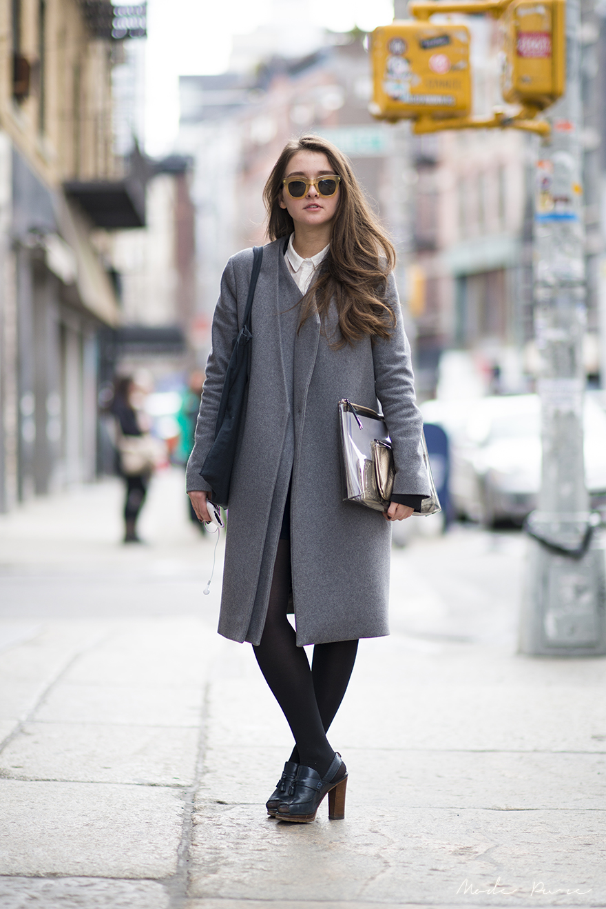 Tanya Posternak | In God We Trust sunglasses, Cos coat, vintage clutch, Uterque heels | SoHo, New York | Mar 28, 2013.