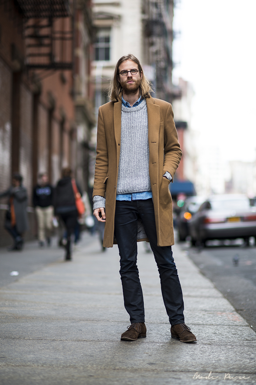 Tom Daly | BLK DNM coat, Acne sweater and pants, custom made shoes |  SoHo, New York | Mar 28, 2013.