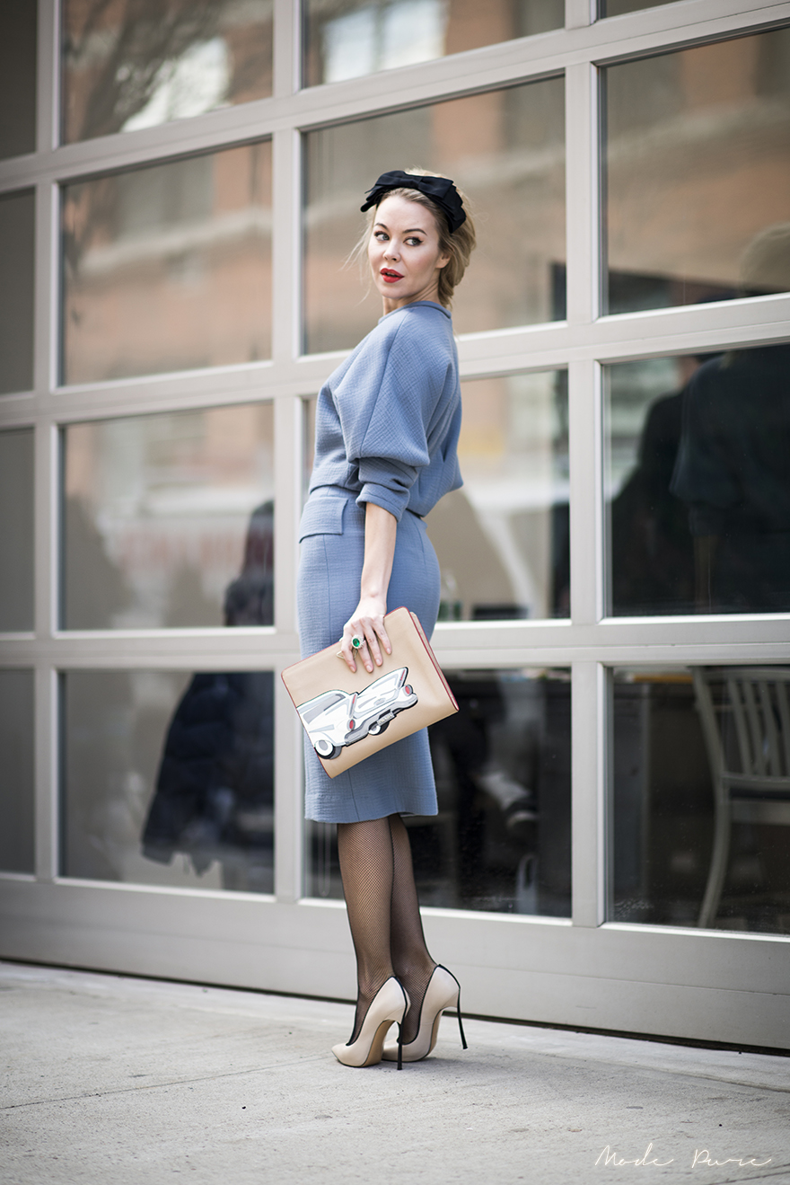 Ulyana Sergeenko | Prada clutch, Casadei pumps | After Rodarte | New York Fashion Week Fall/Winter 2013 | Feb 12, 2013.