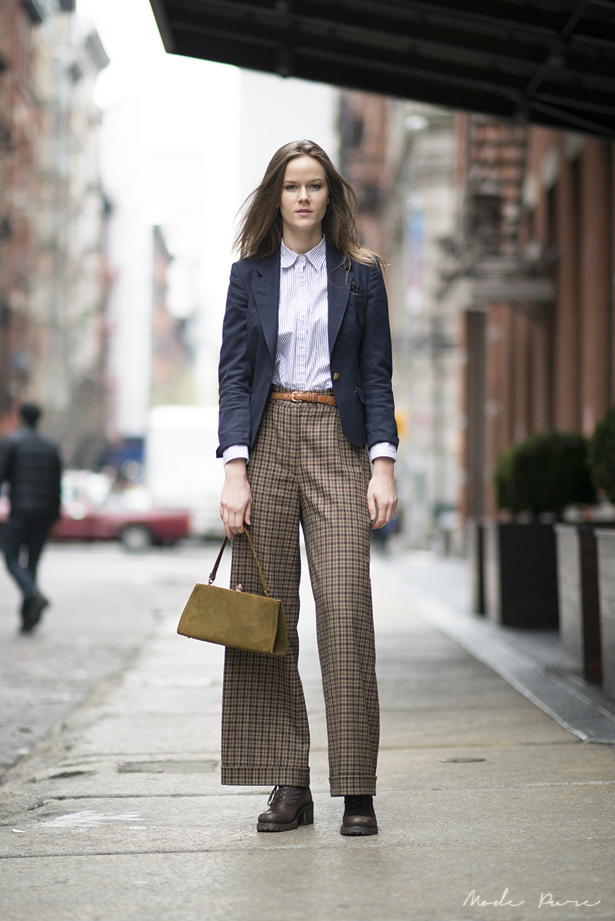 Ashley Owens | Aquascutum blazer, Ralph Lauren shirt, vintage Coach belt, vintage pants and bag from Malin | SoHo, New York | April 11, 2013.