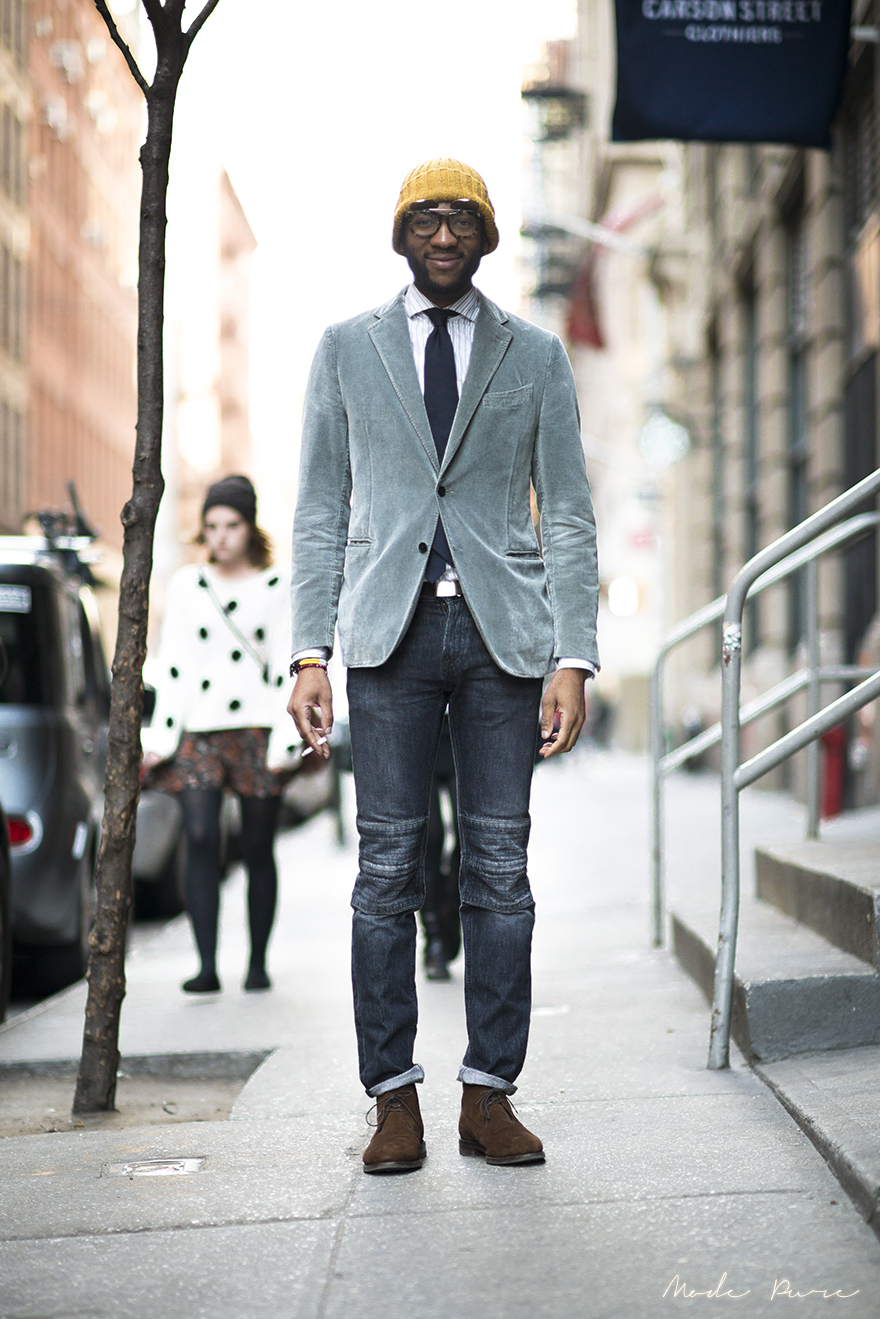 Christopher 'CB' Rucker | Piombo blazer, Michael Bastian shirt, Drakes tie, Gant by Michael Bastian jeans, Kris Van Assche sunglasses, Loake 1880 shoes | SoHo, New York, April 7, 2013.