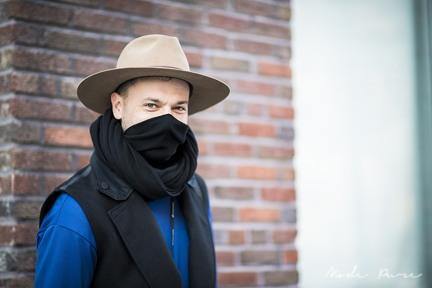 Julien Boudet | Alexander Wang vest, cowboy hat from Utah, Jil Sander sweater | before Thakoon | New York Fashion Week Fall/Winter 2013 | Feb 10, 2013.