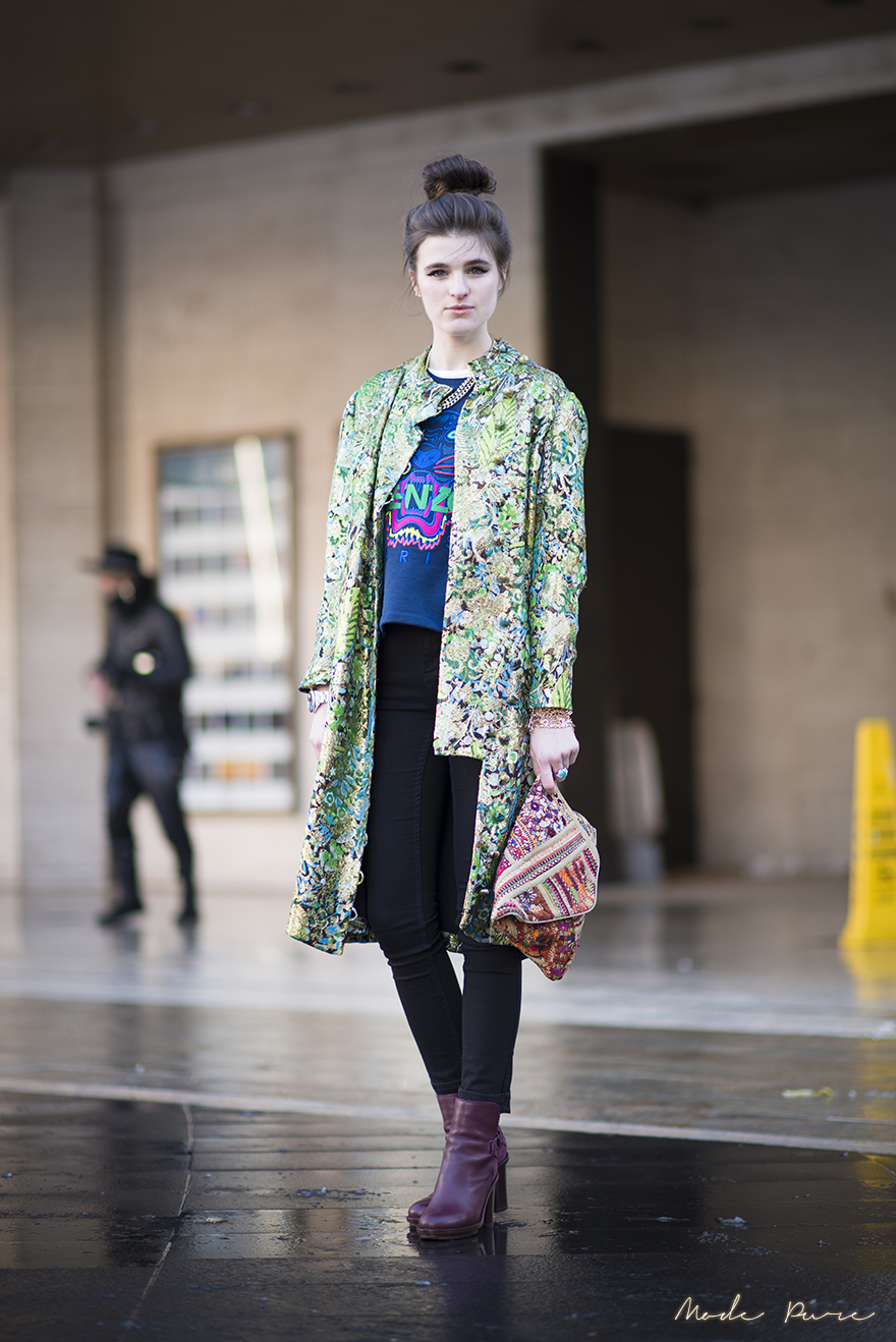 Kerrin Smith | vintage Dior coat, Kenzo sweatshirt, Topshop jeans, Acne boots, Rolex watch, unknown clutch | New York Fashion Week Fall/Winter 2013 | Feb 9, 2013.