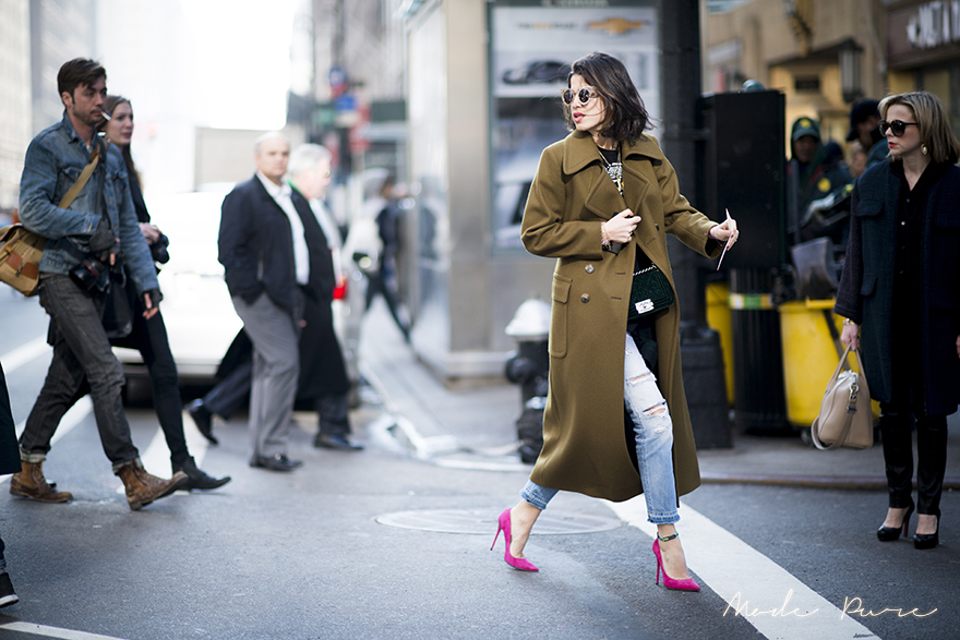 Leandra Medine | House of Holland sunglasses, Chanel bag, Jimmy Choo shoes | after Calvin Klein | New York Fashion Week Fall/Winter 2013 | Feb 14, 2013.