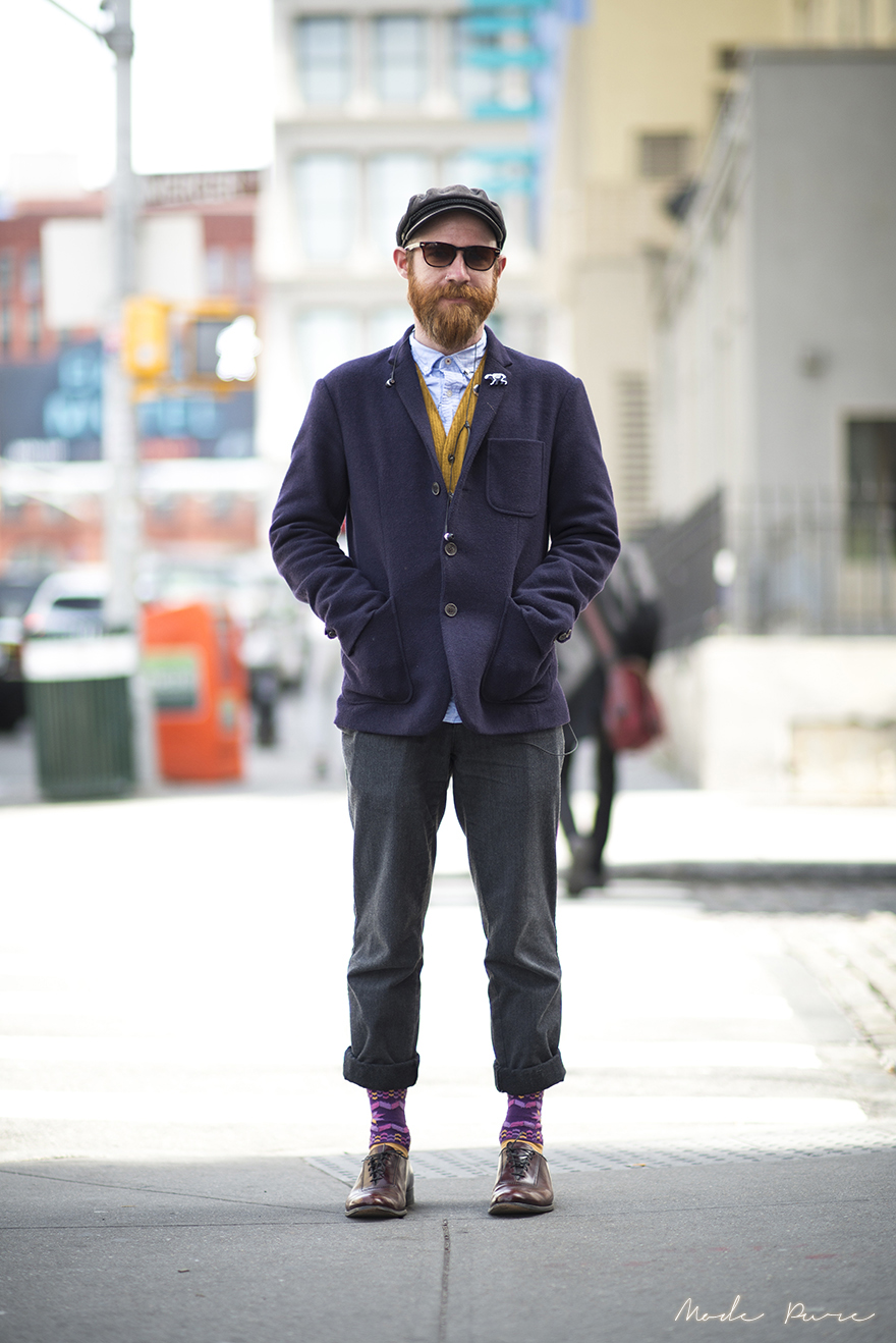 Nathanael Scott | Shades of Greige coat, Tommy Hilfiger pants, Happy socks | SoHo, New York | March 28, 2013.