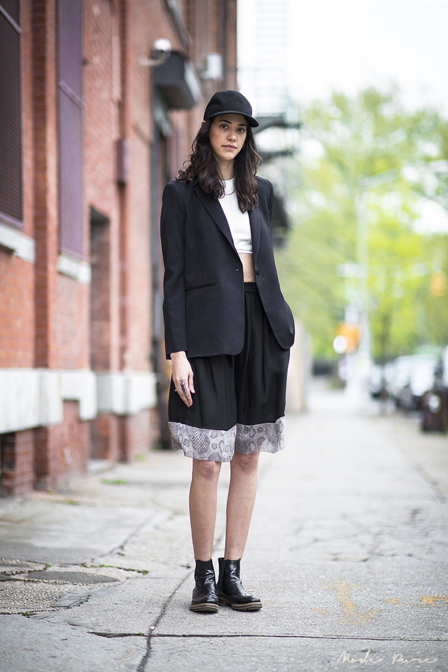 Yara Flinn | Saturdays hat, slit back jacket, halter top and basketball shorts all by Nomia, Jil Sander boots | Williamsburg | April 29, 2013.